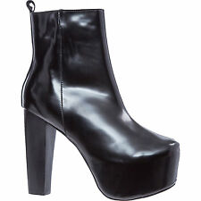 JEFFREY CAMPBELL black leather platform block heel ankle boots goth gothic 5 38
