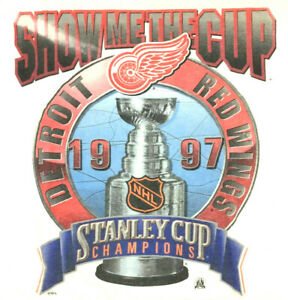 Vtg 90s Detroit Red Wings Stanley Cup Champion 1997 T-Shirt Starter Hockey Tee L