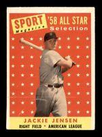 1958 Topps Set Break # 489 Jackie Jensen All Star VG *OBGcards*