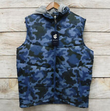 Rocawear Mens Size XL Blue & Black Camo Thin Hooded Puffer Vest New Tiny Defect