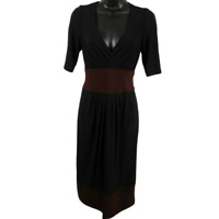 Jones New York Black & Burgundy Shot Sleeve V-Neck Dress Women's Size 4