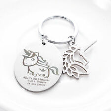 Silver Plated Keychain Cute Unicorn Print Keyrings Stainless Steel Key Ring Gift