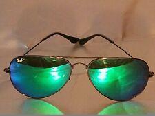 Ray Ban RB3026 62MM Aviator Unisex Sunglasses Black Frame/Turquoise Mirror Lens