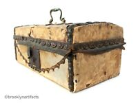 Antique American Primitive Buckskin Hide Covered Decorative Storage Box / Chest