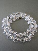 Vintage Art Deco Faceted Natural Rock Crystal Quartz Graduated Knotted Necklace