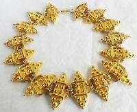 collier vintage à la feuille d'or imposant déco en relief haute qualité   A01