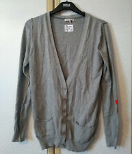 M&S Limited Girls Grey Cotton Rich Deep V-Neck Cardigan Age 13-14 VGC