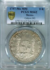 1757 Mo MM Ferdinand VI. 8 Reales pillar dollar  PCGS MS62