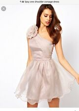 Lipsy One Shoulder Dusky Pink / Nude Corsage Dress Occasion Prom Party Size 10