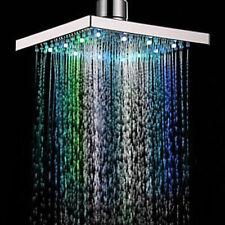 Soffione Doccia Quadrato LED multi colore Bagno Cascata Effetto Pioggia 8-inch