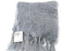 ADELE'S CLASSIC FLUFFY GREY MOHAIR WOOL WOMENS SCARF