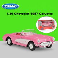 Chevrolet 1/36 1957 Corvette Cars Model Convertible Diecast Pull Back Toys WELLY