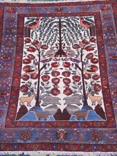 """4'4"""" X 6' Spectacular Antique """"Tree of life"""" Hand Made 100% Wool Oriental Rug"""