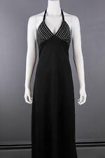 VTG 70s BOHO Black *YOUNG EDWARDIAN* Halter DISCO Supermodel MAXI DRESS XS-S
