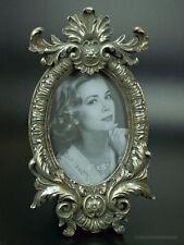 Rokoko Barock Bilderrahmen Fotorahmen Oval Glas Rahmen Silber Holz Stil Antik