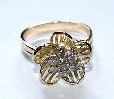 Diamond Flower Ring 14K Gold NEW