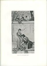 ANTIQUE MEDIEVAL MAIDEN COSTUME LOVE ROMANCE KISSING HAND VIOLIN OLD ART PRINT