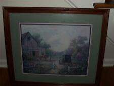 FRAMED AMISH PICTURE MATTED WOODEN FRAME NICE LARGE PICTURE