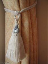 2 NATURAL COTTON CURTAIN TASSEL TIEBACKS WITH SILVER TRIM - CREAM TIE BACKS