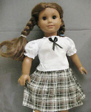 """18"""" American Girl: Doll Clothes - White Blouse & Plaid Skirt Outfit"""