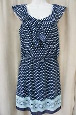 Studio M Dress Sz XS Blue Teal Polka Dot Floral Ruffled Sleeveless Casual Party