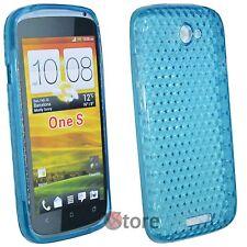 Cover Custodia Per HTC One S Silicone Gel TPU Azzurro + Pellicola Salva Schermo