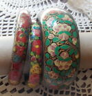 BRACELETS FANTAISIE EN PAPIER MACHE PEINTS A LA MAIN LOT DE 3 DECORS VARIES