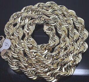 Real 10K Yellow Gold  Rope Chain 15 mm 36 34 32 30 28 26 24 Inch Men's Necklace