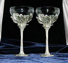 ~ Set of 2 Vintage CASTOR & COOPER Pewter-Clad Stemmed CHAMPAGNE GLASSES Signed