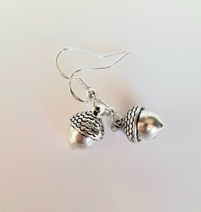 Acorn Earrings Sterling Silver 925 Hooks With 3D Tibetan Silver Charms