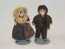 """Great Pair Of German Antique All Bisque 4"""" Miniature Dolls"""