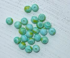 100 türkis/gelbe Glasperlen, marmoriert, ca 10 mm Engel basteln A1134