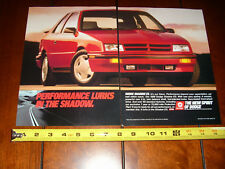 1989 DODGE SHADOW ES - ORIGINAL 2 PAGE AD