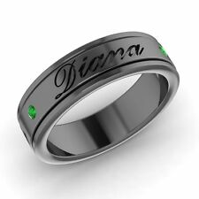 Engravable Men's Wedding Ring / Band with Emerald In Solid 14k Black Gold