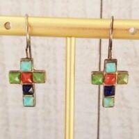 Vintage Sensa Eustace Zuni Multi Stone Colorful 925 Silver Hook Cross Earrings
