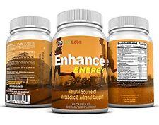 Natural ENERGY PILLS w/ Caffeine, Vitamin B, L-Taurine, Ginseng | ENHANCE Energy