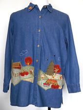 Bobbie Brooks Fall Autumn Harvest Pumpkin L/S Blue Denim Button-Up Shirt 14W/16W