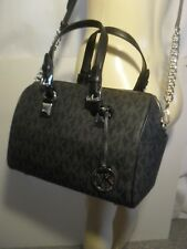 NWT Michael Kors Black MK Signature Medium Satchel Grayson Tote Crossbody Bag