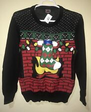 Well Worn Holiday Sweater Men Beer Holder Ugly Christmas Stocking Black Sz L NWT