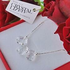 925 STERLING SILVER CHAIN NECKLACE WITH SWAROVSKI Elements PENDULUM WHITE PATINA