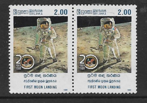 SRI LANKA POSTAL ISSUE MINT PAIR OF 1989 COMMEMORATIVE STAMPS FIRST MOON LANDING