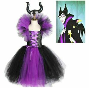Violett Mädchen Halloween Kostüm Maleficent Böse Königin Kleid mit Horns 2021 DE