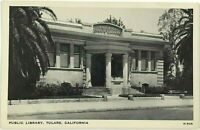Public Library Building Tulare California CA Street View Black & White Postcard