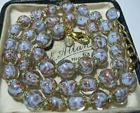"""Lilac Venetian Murano Glass Gold Foil Bead Vintage Style 18"""" Long NECKLACE"""