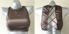 Nwt Victorias Secret Very Sexy Taupe Satin High Neck Lace Up Bralette M