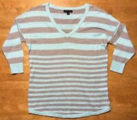 Banana Republic Women's Teal & Brown Striped 3/4 Sleeve V-Neck Sweater - Small