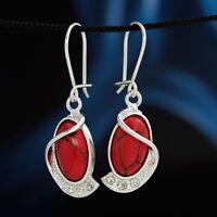 Koralle Silber 925 Ohrringe Damen Schmuck Sterlingsilber H0316