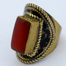 Coral Black Brass Ring Size 9.5 Tibetan Nepalese Handmade Tibet Nepal RG71