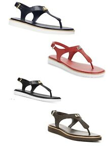 Women MK Michael Kors Brady Thong Flat Buckle Up Sandals