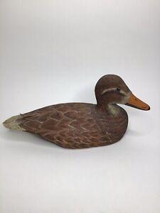 L. Aldrich Hand Carved Wood Duck - Mallard Hen, 13 Inches, Signed Vintage